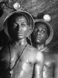 Gold Miners, Wearing Helmets and Perspiring Heavily, Standing in Robinson Deep Diamond Mine Tunnel Premium Photographic Print by Margaret Bourke-White
