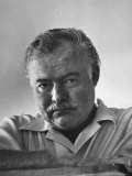 Author Ernest Hemingway in Fishing Village Premium Photographic Print by Alfred Eisenstaedt
