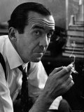 Broadcast Journalist Edward R. Murrow Smoking Cigarette Premium Photographic Print by Lisa Larsen
