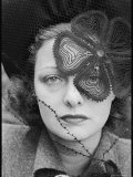 Woman Wearing a Veil with Flower Pattern Placed Strategically over Her Left Eye Premium Photographic Print by Alfred Eisenstaedt