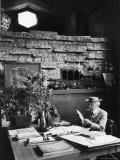 Architect Frank Lloyd Wright Working at Desk in His Home Taliesin Premium Photographic Print by Alfred Eisenstaedt