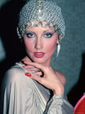 Actress Morgan Fairchild Wearing Mesh Hat Premium Photographic Print by David Mcgough