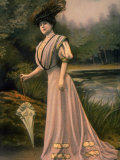 Woman Modeling Feather hat, Parasol and Pink Toilette D'Apres Midi Designed by Bourniche Premium Photographic Print by Felix