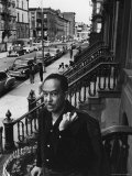 African American Poet/Writer Langston Hughes Standing on the Stoop in Front of His House in Harlem Premium Photographic Print by Robert W. Kelley