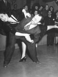 Actor Allen Jenkins Doing Jitterbug with Actress Joan Crawford During Rehearsal Premium Photographic Print by John Florea