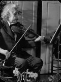 Physicist Dr. Albert Einstein Practicing His Beloved Violin Premium Photographic Print by Hansel Mieth