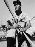 Detroit Baseball Player Hank Greenberg Seated, Holding Bats Premium Photographic Print by Arthur Griffin