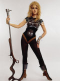 """Actress Jane Fonda Wearing Space Age Costume for Title Role in Roger Vadim's Film """"Barbarella"""" プレミアム写真プリント : カルロ・バヴァニョーリ"""