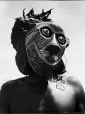 Bopende Tribesman of Western Congo Wearing Mask During Initiation of Boys Into Tribal Society Premium Photographic Print by Eliot Elisofon
