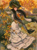 Autumn Cover of French Periodical Les Modes Showing Fashionable Woman Alone in Park Photographic Print by Felix Fournery