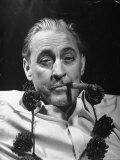 "John Barrymore Wearing Pine Cone Necklace While Smoking Cigar in Scene from ""My Dear Children"" Premium Photographic Print by Bernard Hoffman"