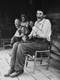 Former Confederate Soldier John Salling in Chair on Front Porch with friends in Scott County Premium Photographic Print by Allan Grant