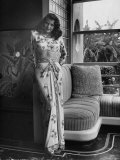 Actress Rita Hayworth Clad in Bare Midriff Evening Gown by Designer Jean Louis Premium Photographic Print by Bob Landry