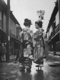 Geisha Girl Chats with Young Novice, Yoko Minami, Who is Studying to Become a Geisha Photographic Print by Alfred Eisenstaedt