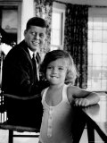 Sen. John Kennedy with Daughter Caroline After Democratic Party Named Him 1960 Pres. Candidate Premium Photographic Print by Alfred Eisenstaedt