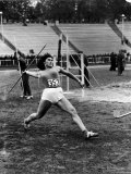 Soviet Athlete Virva Rolleid Practicing for the Russian Olympics Premium Photographic Print by Lisa Larsen