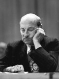 British Pm Clement Attlee Dozing During Campaign Rally Premium Photographic Print by Alfred Eisenstaedt