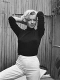 Actress Marilyn Monroe Playfully Elegant, at Home Metal Print by Alfred Eisenstaedt