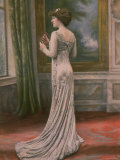 Mlle. Fonteney Modeling a Gray/Silver Evening Dress Created by Redfern for L&#39;Ane de Buridan Premium Photographic Print by Felix 