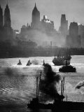 Ship and Tug Boat Traffic on the Hudson River with New York City Skyline Premium Photographic Print by Andreas Feininger