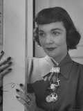 Jane Wyman with New Short Haircut with Bangs, Full at the Ears with Interesting Bar Charm Pin Premium Photographic Print by Allan Grant