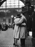 Soldier Embracing Girlfriend While Saying Goodbye in Pennsylvania Station Before Returning to Duty Premium Photographic Print by Alfred Eisenstaedt