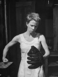 "Actress Julie Harris, Punching a Baseball Glove in Scene from Play ""Member of the Wedding"" Premium Photographic Print by Eliot Elisofon"