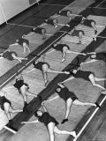 Women Doing Calisthenics to Music in Exercise Class in the Gymnasium of Riverside Church Photographic Print by Margaret Bourke-White
