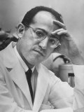 Dr. Jonas Salk, Inventor of the New Polio Vaccine, in Serious Portrait Premium Photographic Print by Alfred Eisenstaedt