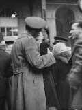 Soldier Passionately Kissing His Girlfriend While Saying Goodbye in Pennsylvania Station Premium Photographic Print by Alfred Eisenstaedt