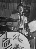 Gene Krupa, American Drummer and Jazz Band Leader, Playing Drums at the Club Hato on the Ginza Premium Photographic Print by Margaret Bourke-White
