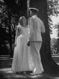 Beth Rhoads and Mike Ames Engaged at Annapolis Week Before Her Graduation at Monticello College Photographic Print by Alfred Eisenstaedt