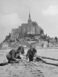 American Travelers Building a Sand Replica of France's Medieval Abbey at Mont Saint Michel Premium Photographic Print by Yale Joel