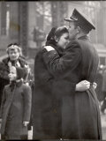 Soldier Tenderly Kissing His Girlfriend's Forehead as She Embraces Him While Saying Goodbye Photographic Print by Alfred Eisenstaedt