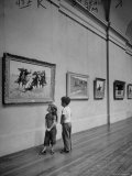 Children Look up at Cowboy Painting Hanging in the Main Gallery of the Houston Museum of Fine Art Photographic Print by Dmitri Kessel