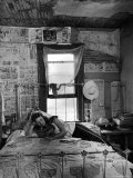 Farmer's Daughter Delphaline, Reading a Book as She Lies on Iron Bed in Her Bedroom Fotoprint van Alfred Eisenstaedt