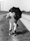 African American Woman Walking Daughter to Sunday School on Road Between Memphis TN Clarksdale, MS Photographic Print by Alfred Eisenstaedt