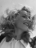 "Wind Blown Smiling Portrait of English Actress Phyllis Calvert During Filming ""My Own True Love"" Premium Photographic Print by Loomis Dean"
