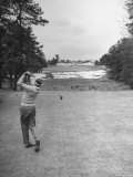 Golfer Herman Keiser Hitting Drive on 367 Yard Second Hole During Masters Golf Tournament Premium Photographic Print by Al Fenn