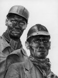 Two Grimy Faced German Coal Miners Posing Resolutely Outside Coal Mine in the Ruhr Valley Premium Photographic Print by Margaret Bourke-White