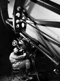 Astronomer Edwin Powell Hubble Looking Though Eyepiece of Telescope at Mt. Wilson Observatory Premium Photographic Print by Margaret Bourke-White