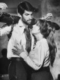 Actors Jeanne Moreau and George Hamilton Shooting Film Premium Photographic Print by Ralph Crane