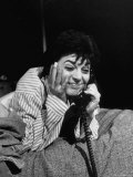 """Actress Anne Bancroft Using Telephone in Scene From Broadway Play """"Two for the Seesaw"""" Premium Photographic Print by Alfred Eisenstaedt"""