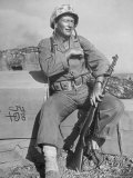 Actor John Wayne as Marine Sgt. Platoon Leader in Scene From the Movie &quot;Sands of Iwo Jima&quot; Premium Photographic Print by Ed Clark