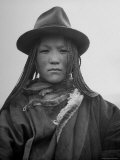 Tibetan Woman Looks like American Indian in European Style Hat and Fine Yak Butter Braiding Premium Photographic Print by Mark Kauffman