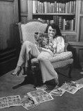 Actress Buff Cobb, Reading Comic Books at Home Premium Photographic Print by Martha Holmes