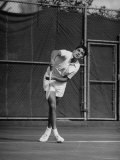 "Richard ""Pancho"" Gonzales Playing in a Tennis Tournament Premium Photographic Print by John Florea"