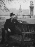 Bernard Baruch Sitting Alone on a Bench in St. James Park Premium Photographic Print by Bob Landry