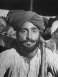 Sikh Listening to Speaker at Rally for a Protest March Regarding Irrigation in the District Premium Photographic Print by Margaret Bourke-White