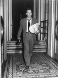 Sen. Harry P Cain, Smoking a Cigarette, Carrying His Shoes and Armload of Papers After Long Speech Premium Photographic Print by Martha Holmes